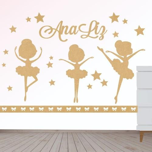 Painel Decorativo Quarto Menina Infantil Bebe Bailarinas Mdf