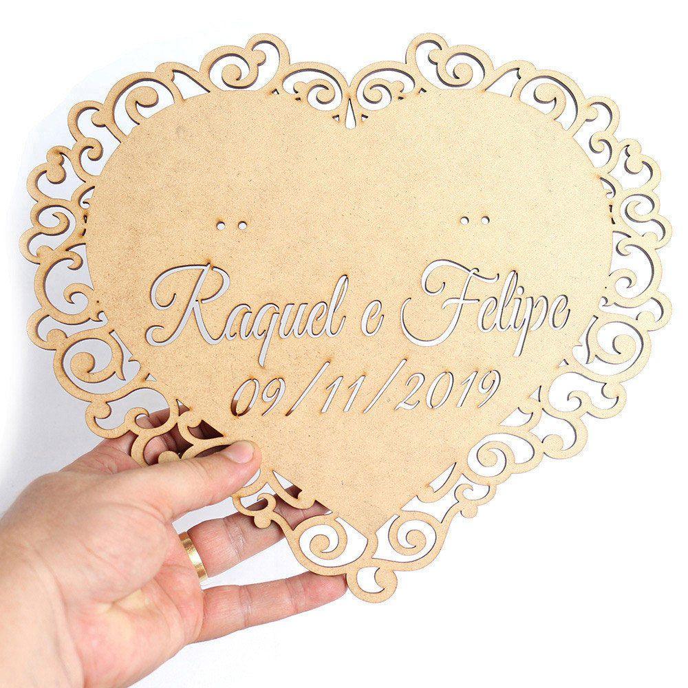 Placa Porta Aliança Casamento Coração Arabesco Personalizado