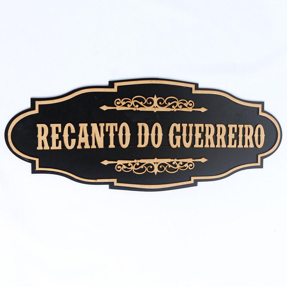 Placa Recanto Do Guerreiro Quadro Madeira Preto