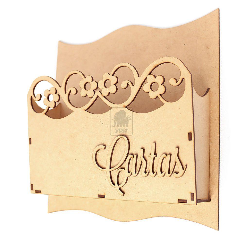 Porta Carta Documentos Decoração Madeira MDF Cru