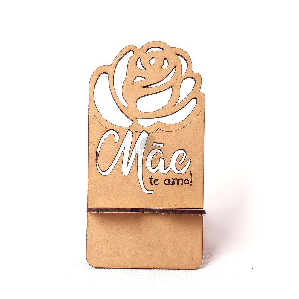 Porta Celular Lembrancinha Rosa Dia das Mães Te Amo Corte a Laser - Yper Criativo