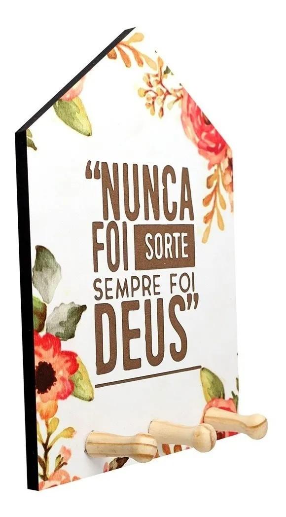 Porta Chaves Estampado Com Frase Gravada Madeira