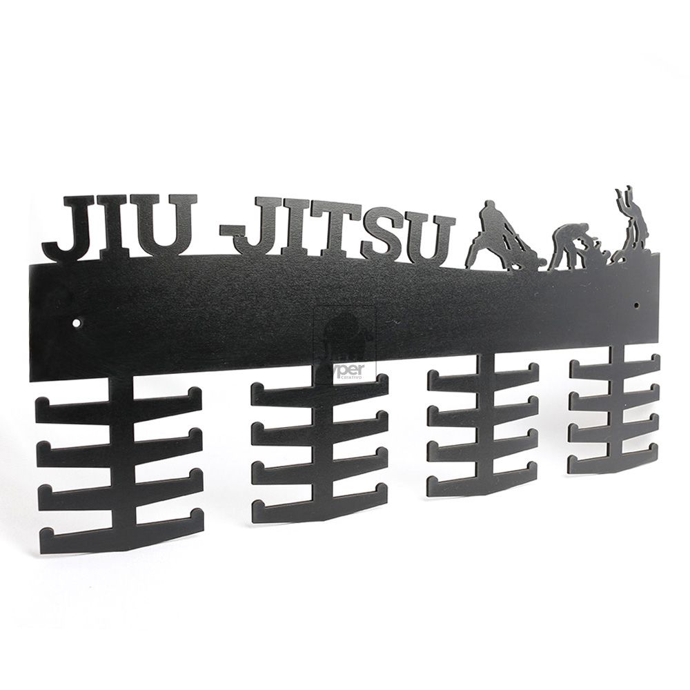 Porta Medalha Jiu-Jitsu MDF Preto