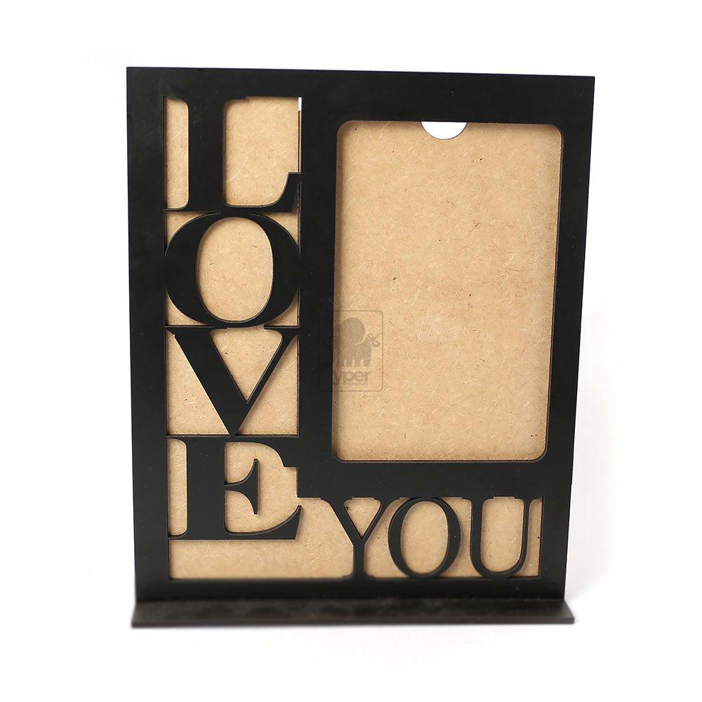 Porta Retrato Love You Preto MDF Laminado Laqueado - Yper Criativo