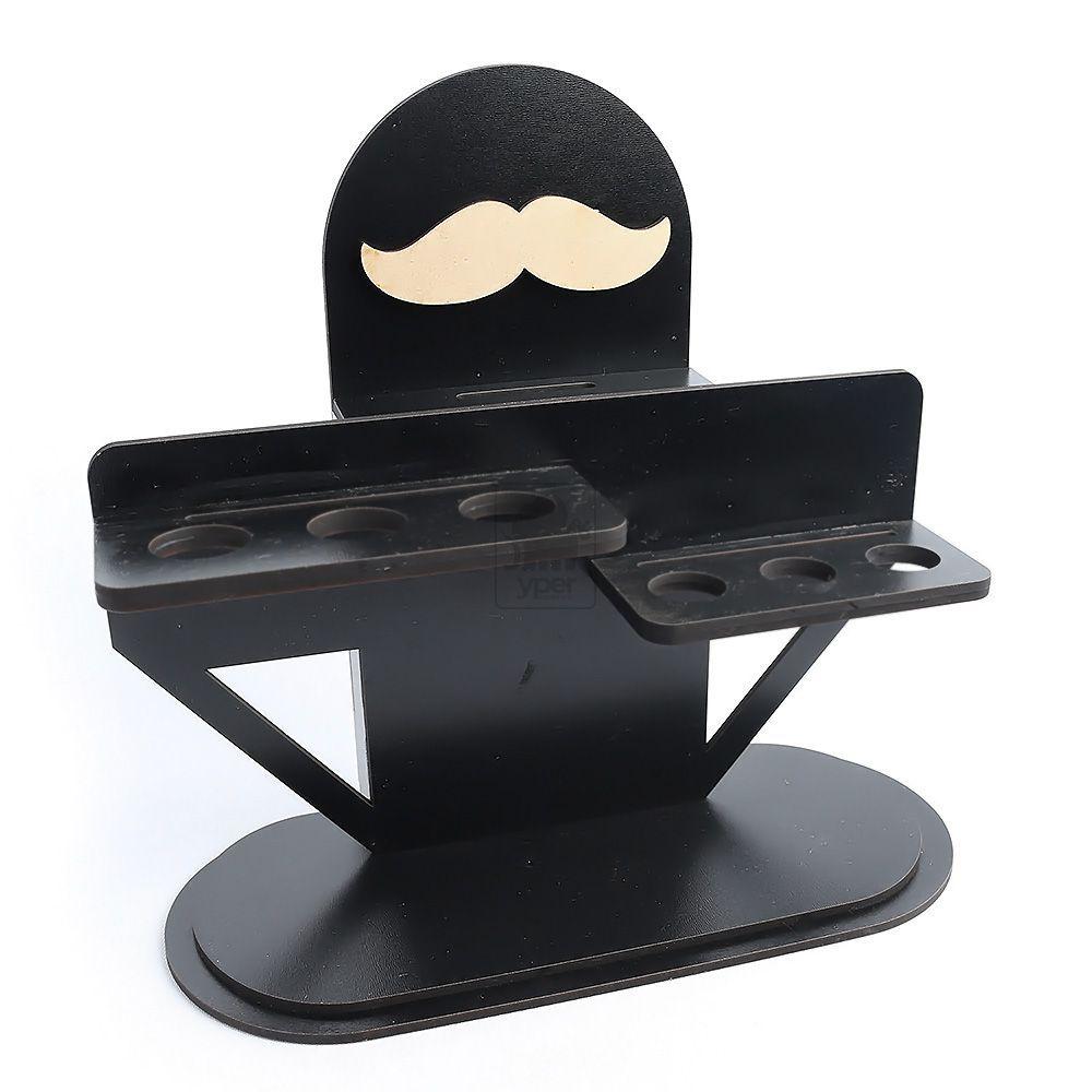 Porta Tesouras Reforçado Barbearia Bigode MDF Preto
