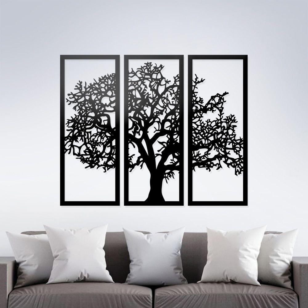 Quadro Árvore Da Vida 3 Peças Madeira Preto MDF