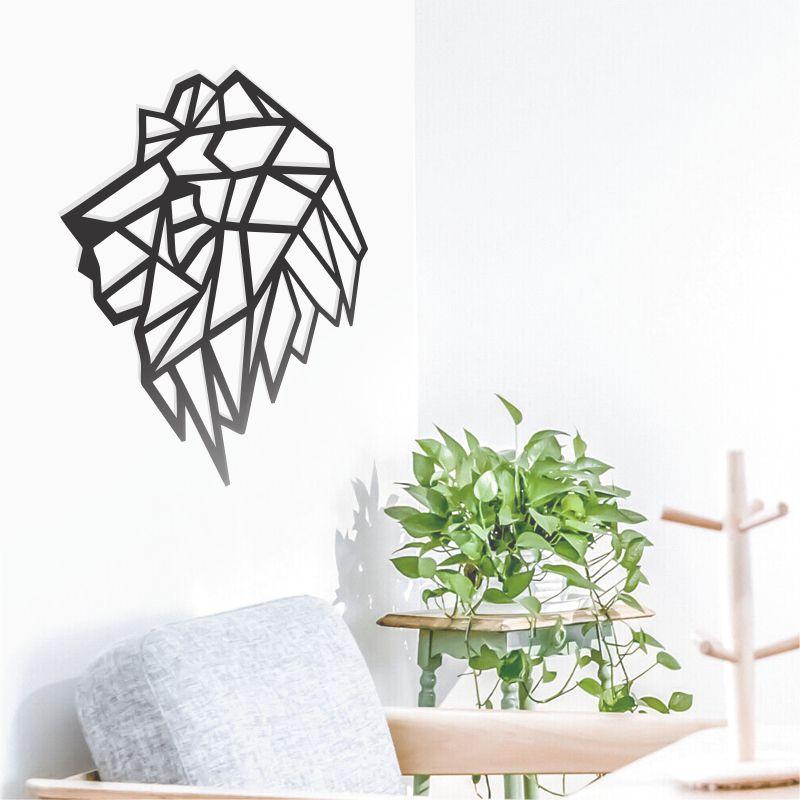 Quadro Decorativo Leão Perfil Animais Geométricos Mdf