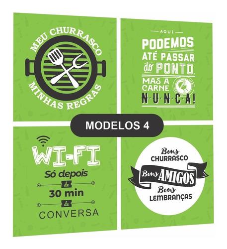 Quadros Espaço Area Gourmet Cantinho Churrasco Preto/verde