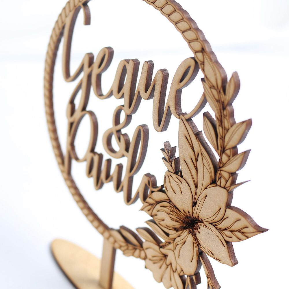 Topo De Bolo Casamento Noivado Nome Rustico (Personalizado)