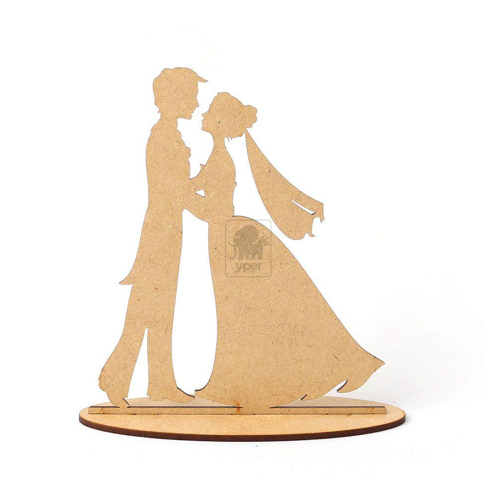 Topo De Bolo Casamento Noivos Com Guarda Chuva Casal Mdf Cru - Yper Criativo