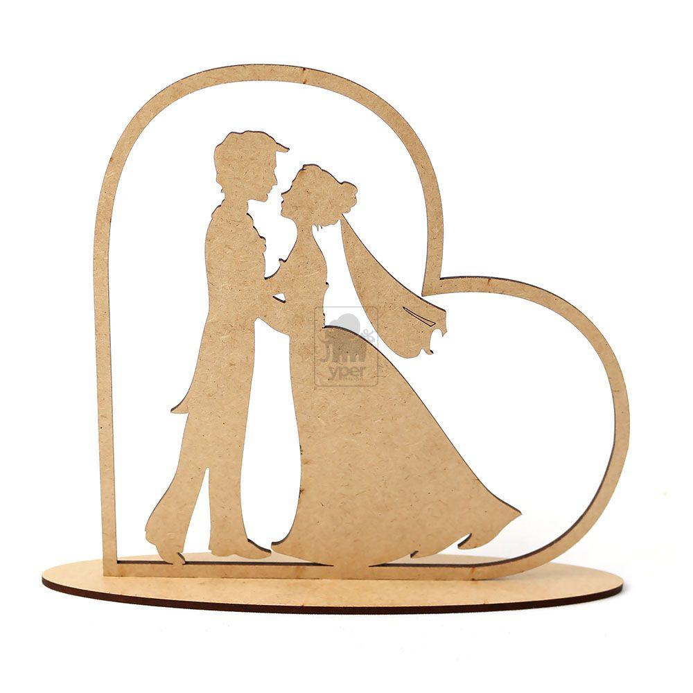 Topo De Bolo Para Casamento Coração Noivos Casal Mdf Cru