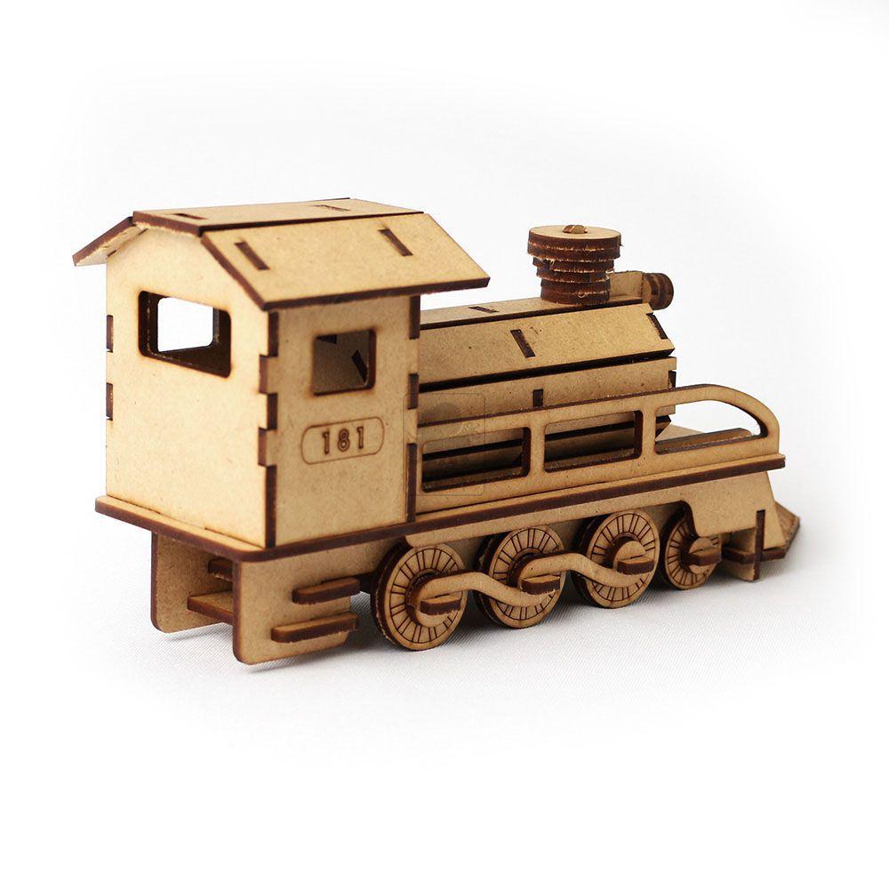 Trem Locomotiva Réplica Trenzinho em MDF Quebra Cabeça 3d