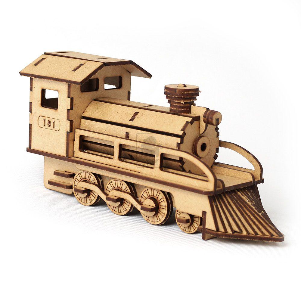 Trem Locomotiva Réplica - Trenzinho em MDF - Quebra Cabeça 3d - Yper Criativo