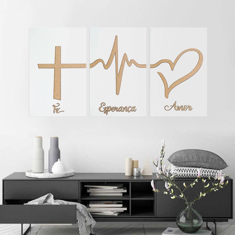 Trio de Quadros Decorativos Fé Esperança Amor Branco