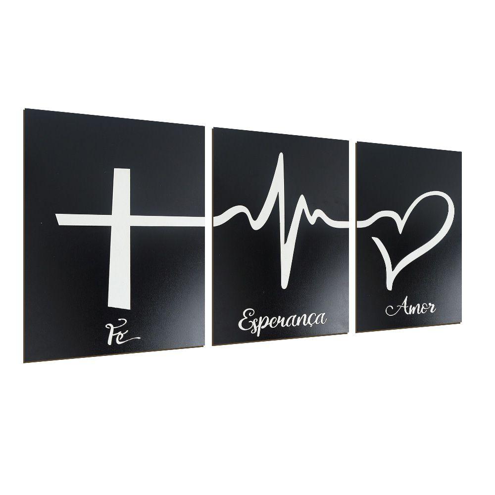 Trio de Quadros Decorativos Fé Esperança Amor Preto