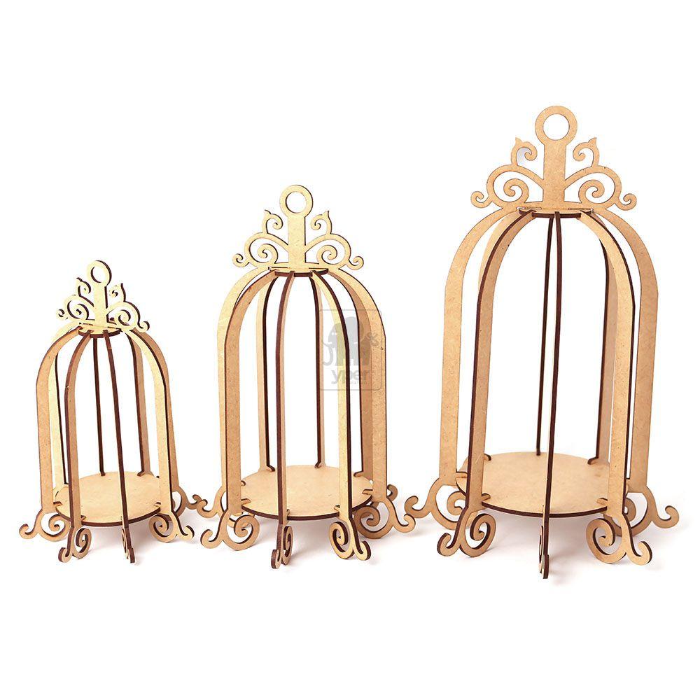 Trio Decorativo de Gaiolas 3d Mdf Gaiolinha Provençal