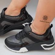 Tênis Feminino Casual Dad Sneaker Preto V104