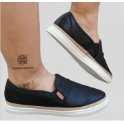 SLIP ON CASUAL PRETO VIA EURO