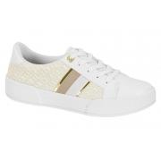 Tênis Feminino Casual Branco Dourado V228