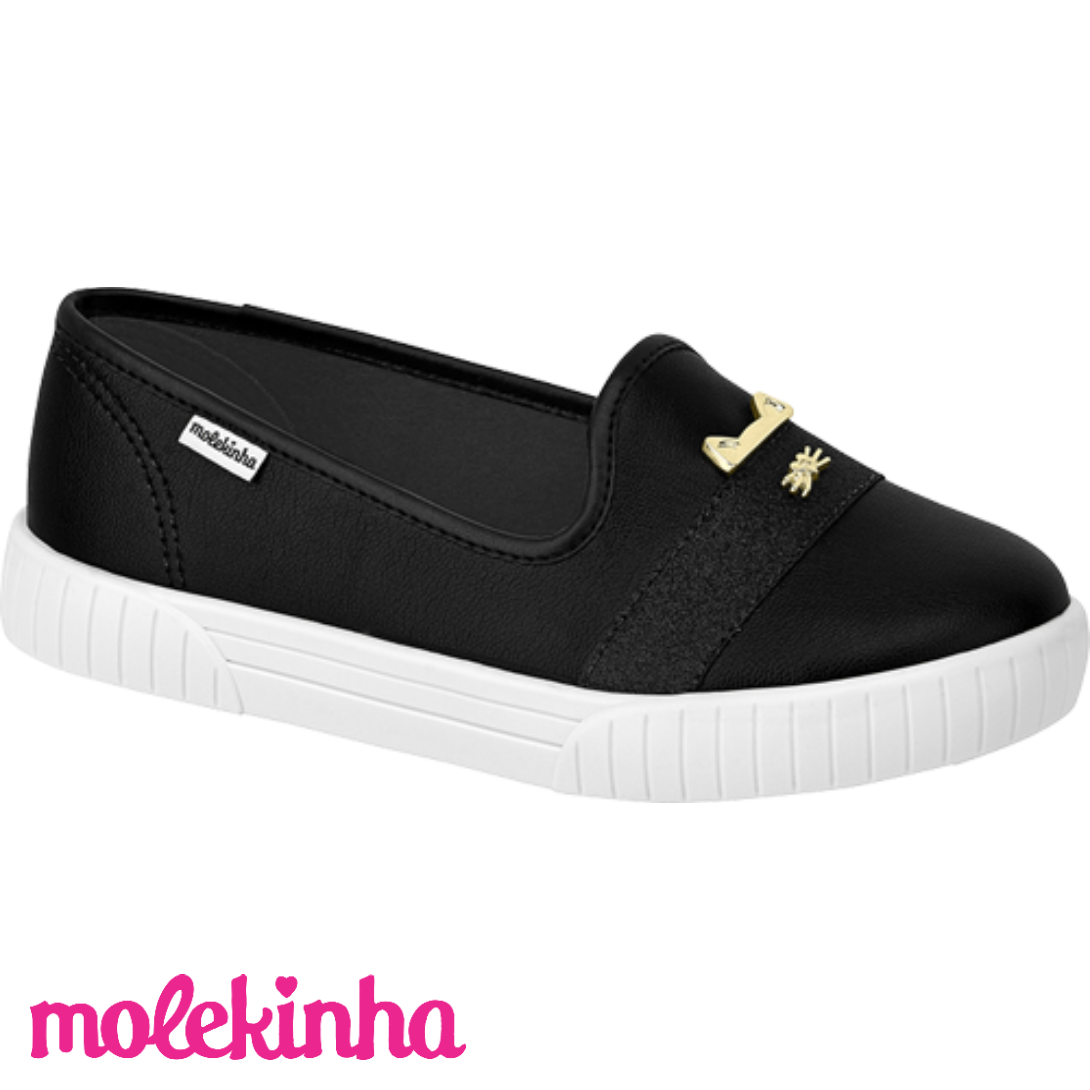 Tênis Infantil Feminino Slip on Preto Molekinha MK101