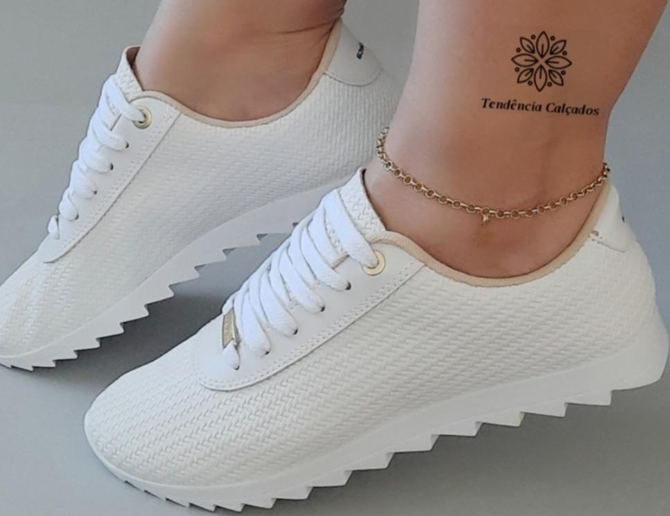 Tênis Feminino Casual Confortável Branco Tratorado 1005