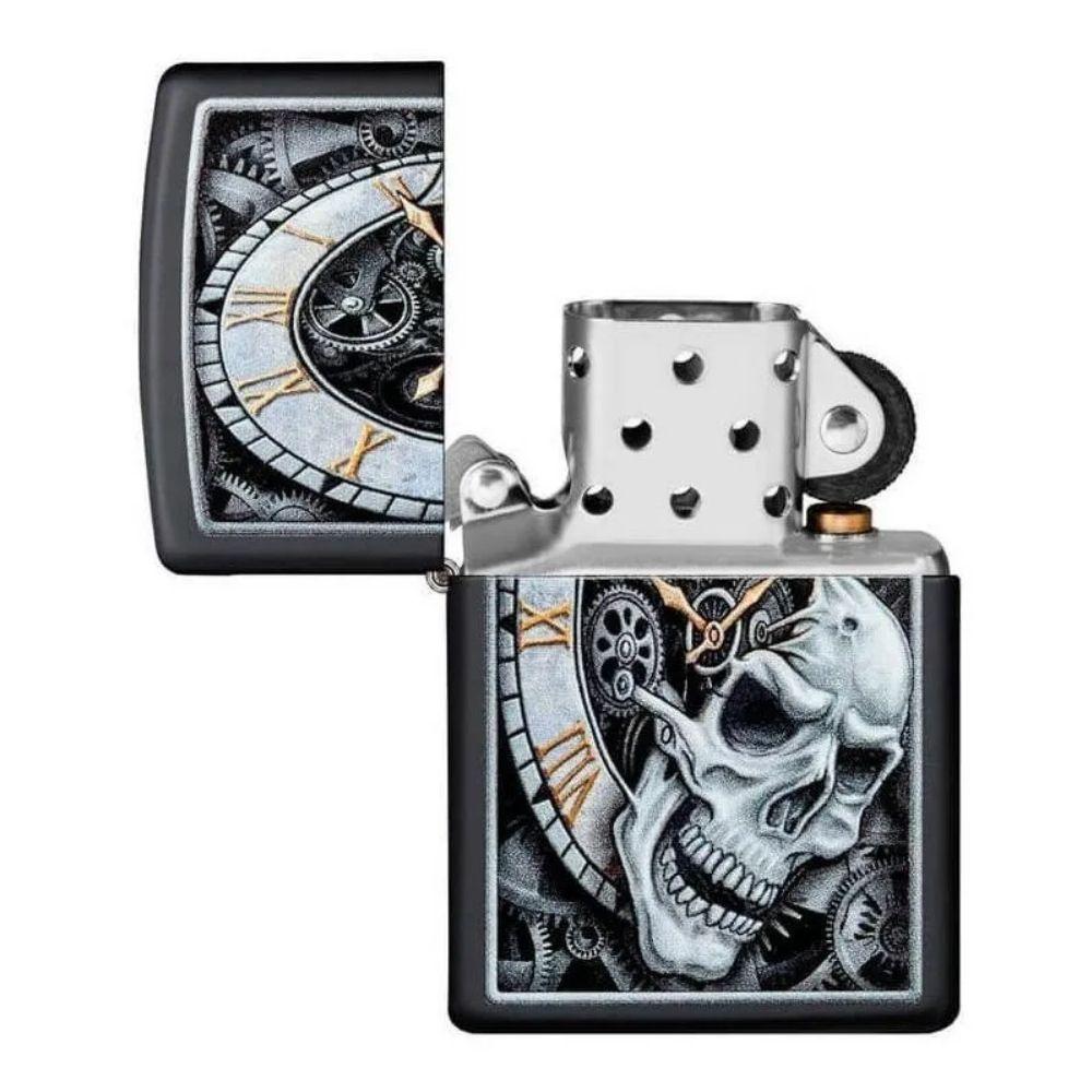 ISQUEIRO ZIPPO SKULL CLOCK PRETO FOSCO - COD. 29854