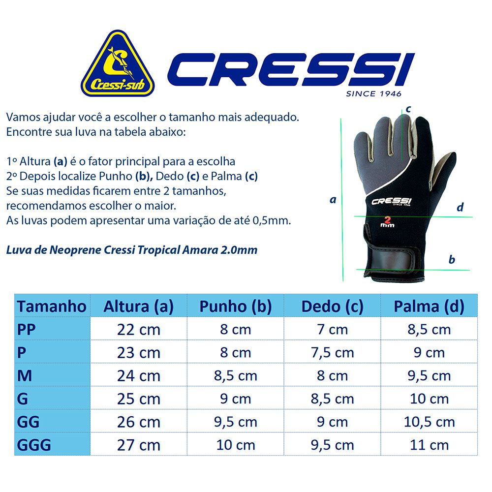 LUVA DE NEOPRENE PARA MERGULHO 2MM AMARA TROPICAL - CRESSI