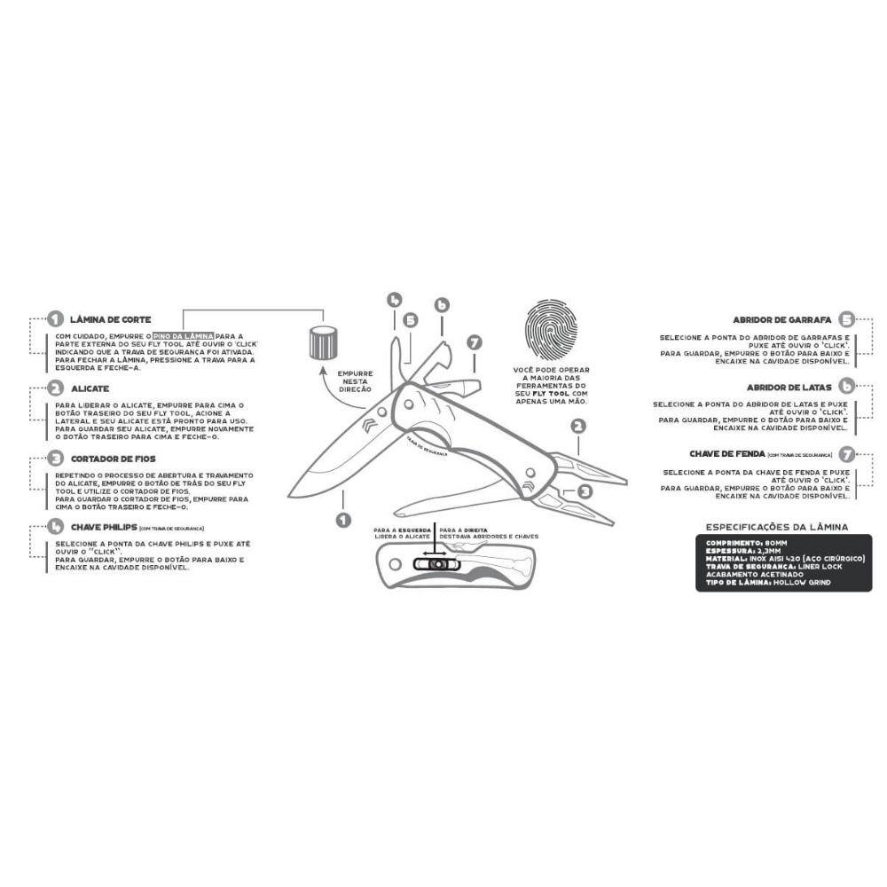 MULTI-FERRAMENTA CIMO INOX FLY TOOL (7 EM 1) - COD. FL01