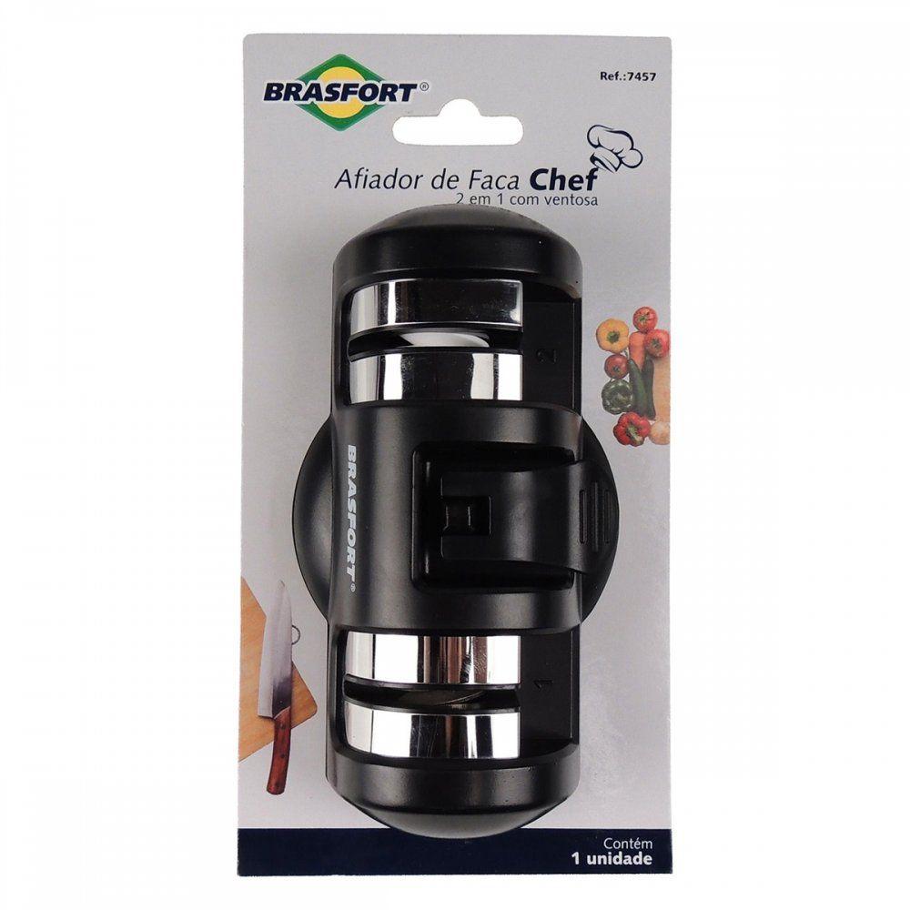 Afiador De Faca 2x1 com Ventosa Preto Chef Brasfort