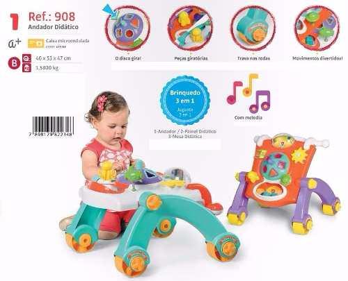 Andador 3 Em 1 Andador / mesa / painel Didático Infantil Calesita