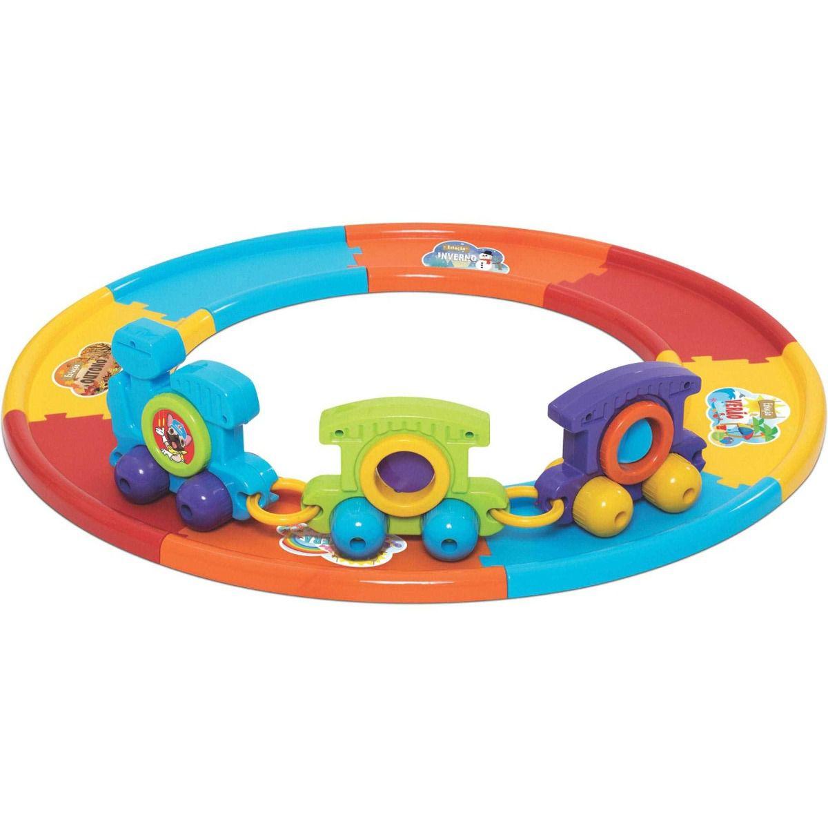 Babytrain Express Com 8 Trilhos Brinquedo para Bebe Trem Merco Toys