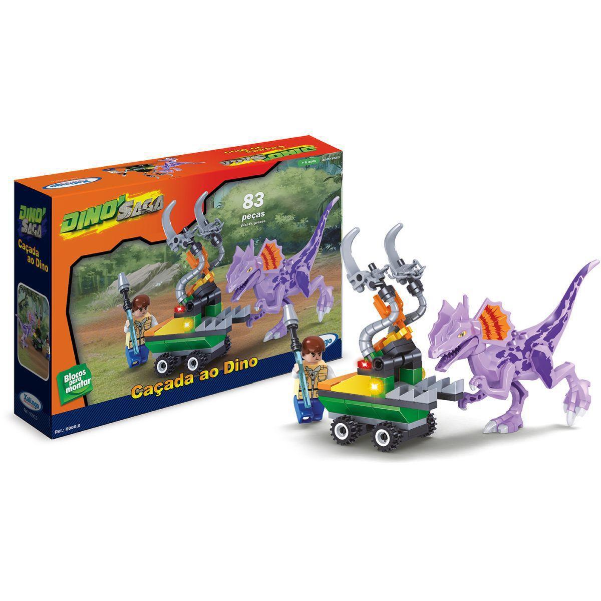 Bloco De Montar Dino Saga Caçada Ao Dino 83 Pcs Xalingo
