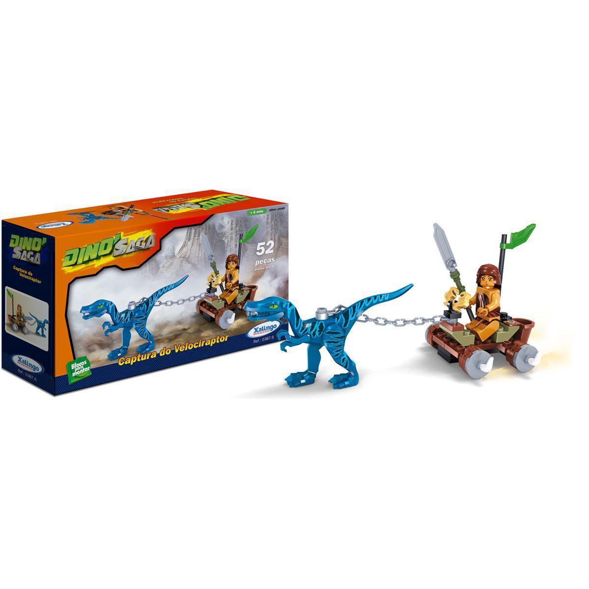 Bloco De Montar Dino Saga Captura Do Velociraptor 52 pçs Xalingo