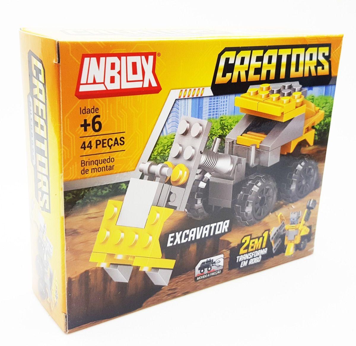 Blocos de Montar Creators Excavator Brinquedo de Fricção 2 em 1 Transforma em Robô Inblox