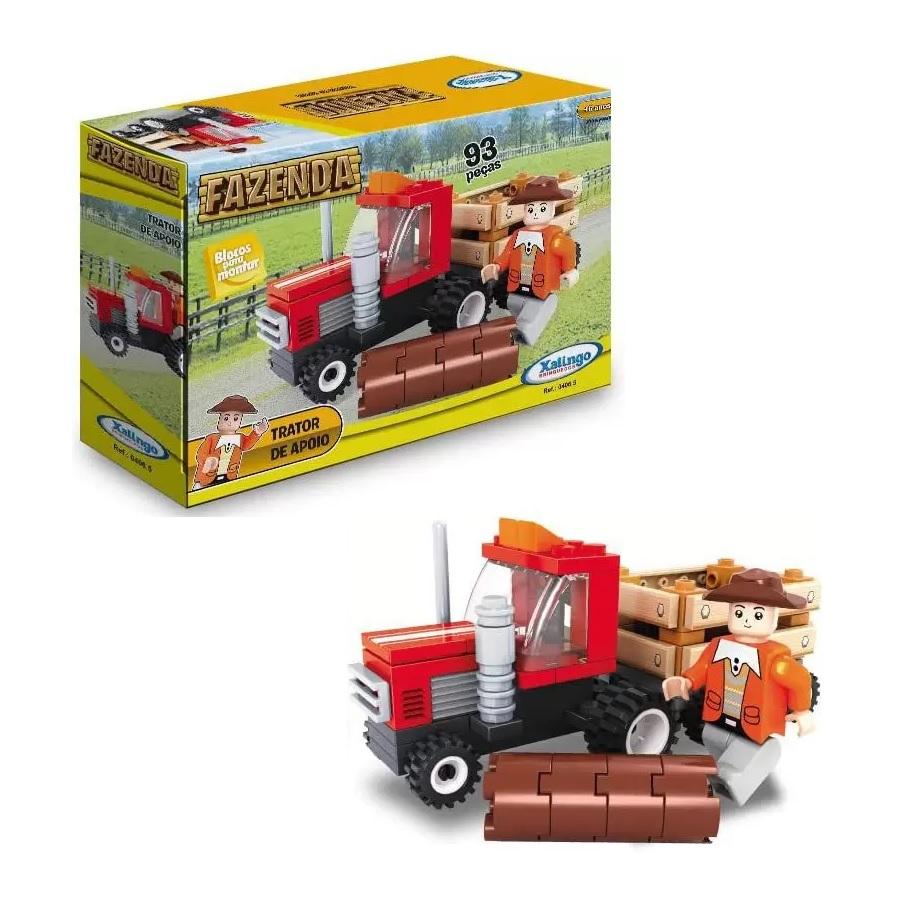 Blocos de Montar Fazenda Trator de Apoio 93 peças Xalingo Brinquedos