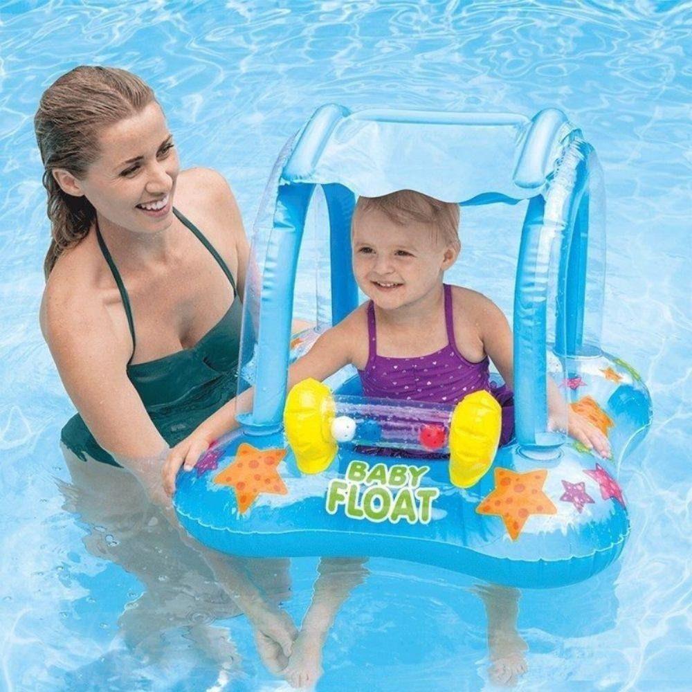 Boia Infantil Baby Bote Inflável Kiddie Com Cobertura Intex cores sortidas