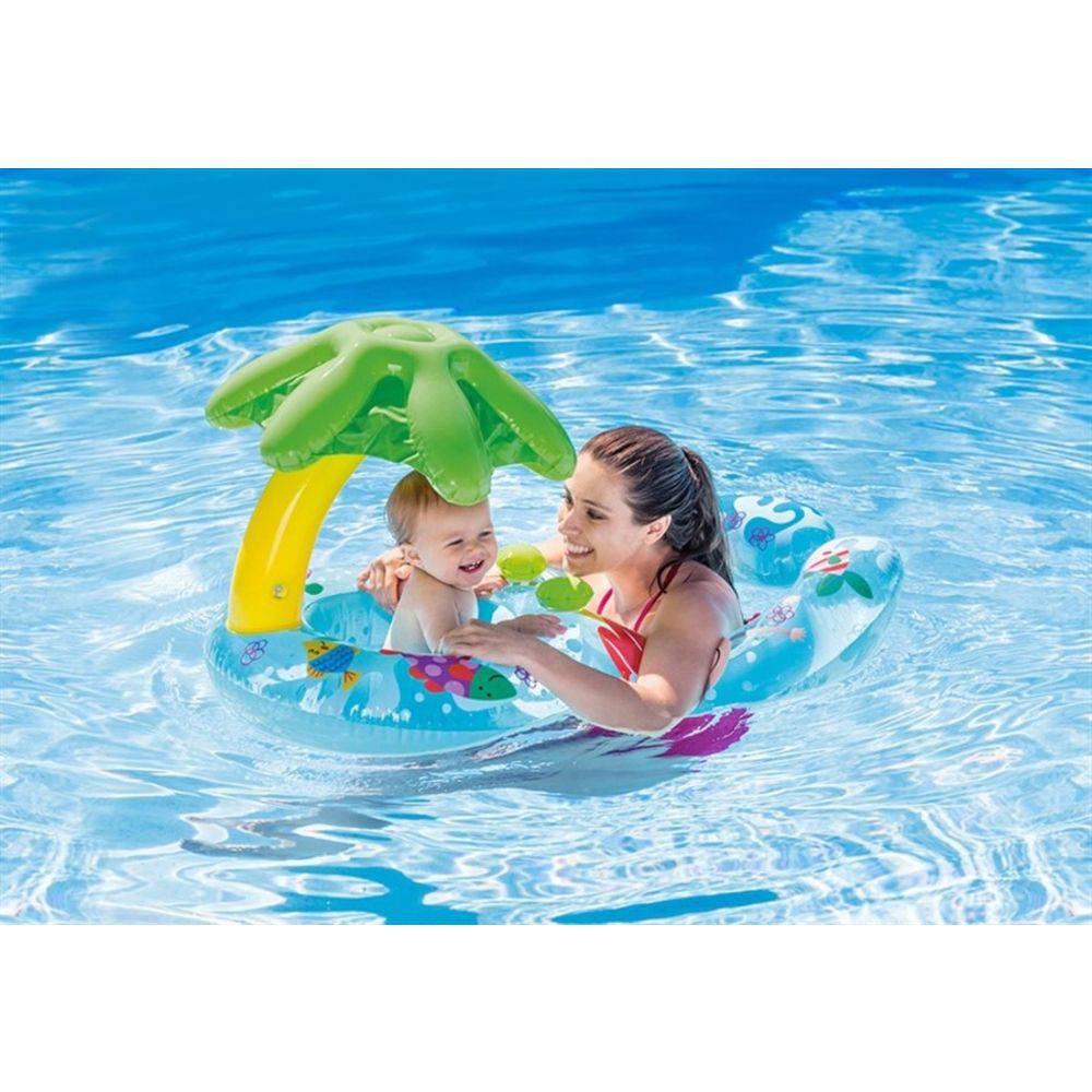 Boia Infantil Bebe com Cobertura Bote Peixinho Duplo 56590 Intex
