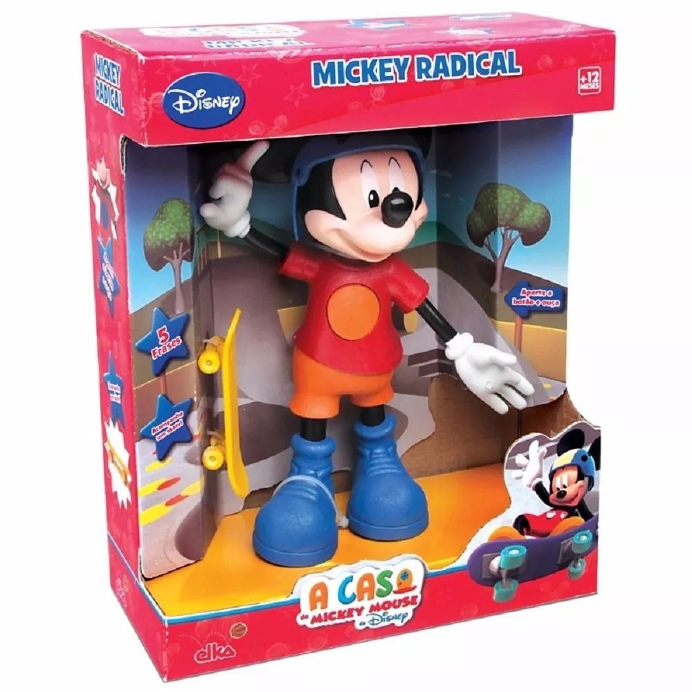 Boneco e Personagem Mickey Skatista Radical com Som Elka