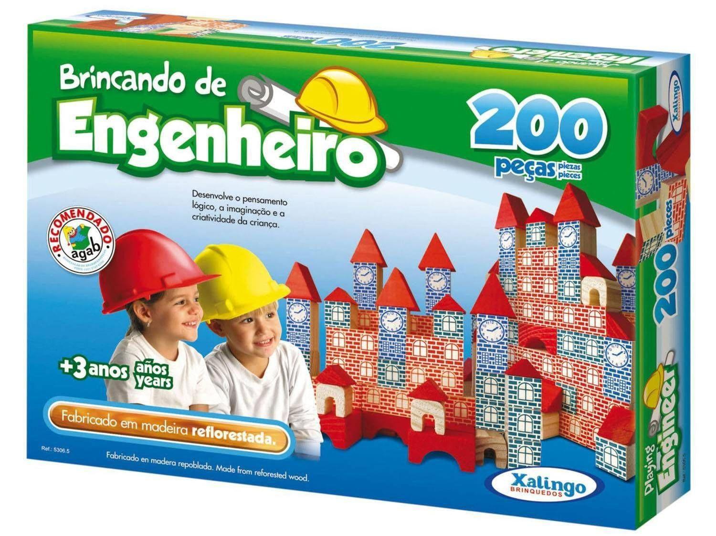Brincando de Engenheiro 200 peças Brinquedo educativo Xalingo