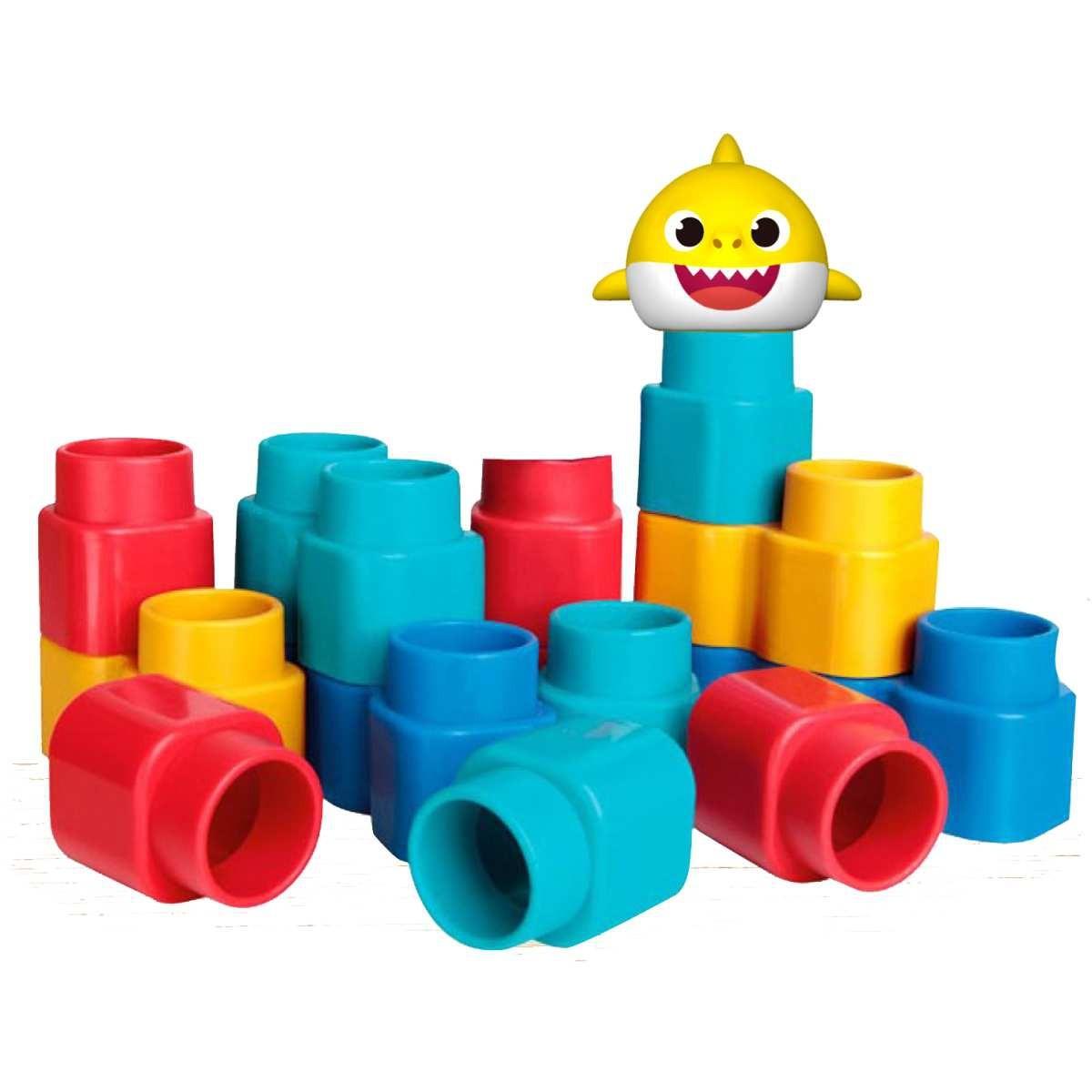 Brinquedo Blocos de Montar Baby Shark Blocos Fofinhos Elka