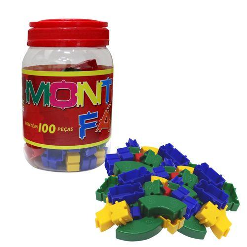 Brinquedo Blocos De Montar Coloridos Monta Fácil  Pote com 100 Pçs Pais e Filhos