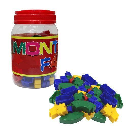 Brinquedo Blocos De Montar Coloridos Monta Fácil  Pote com 200 Pçs Pais e Filhos