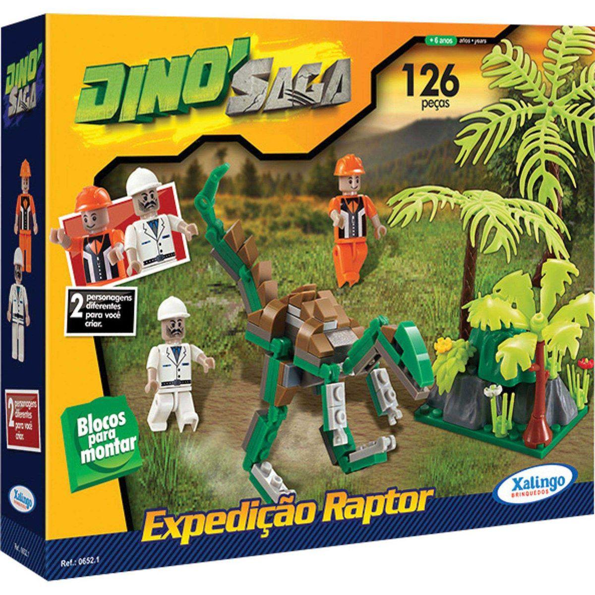 Brinquedo Blocos de Montar Dino Saga Expedição Raptor Xalingo