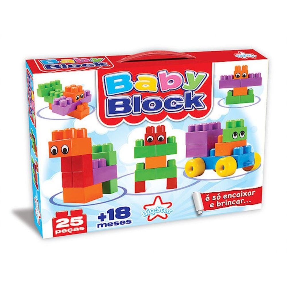 Brinquedo Blocos para Montar Baby block 25 Pecas Encaixe Big Star