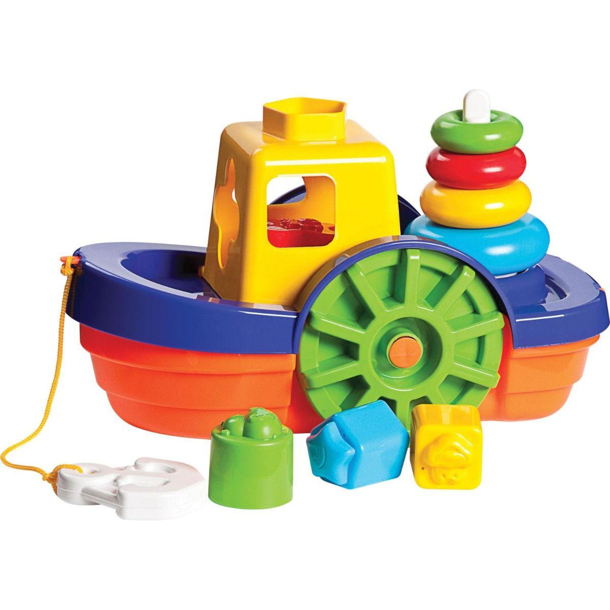 Brinquedo Educativo Barco Didático com Blocos MercoToys