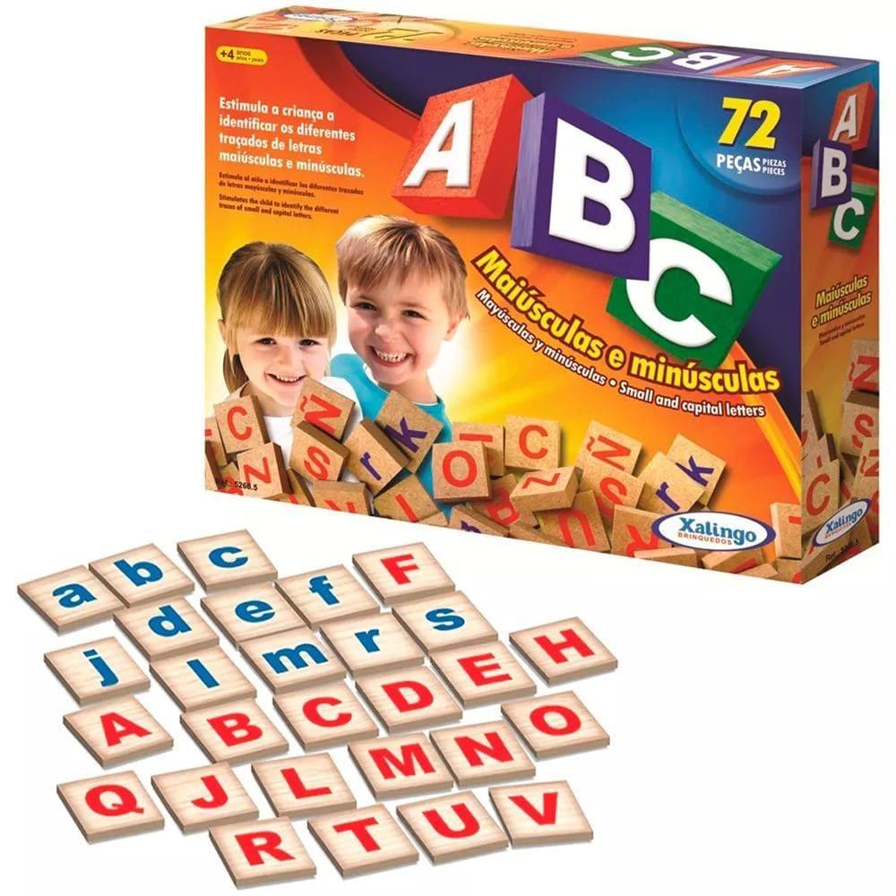 Brinquedo Educativo Brincando com Letras ABC Maiúsculas e Minúsculas 72 pçs Xalingo