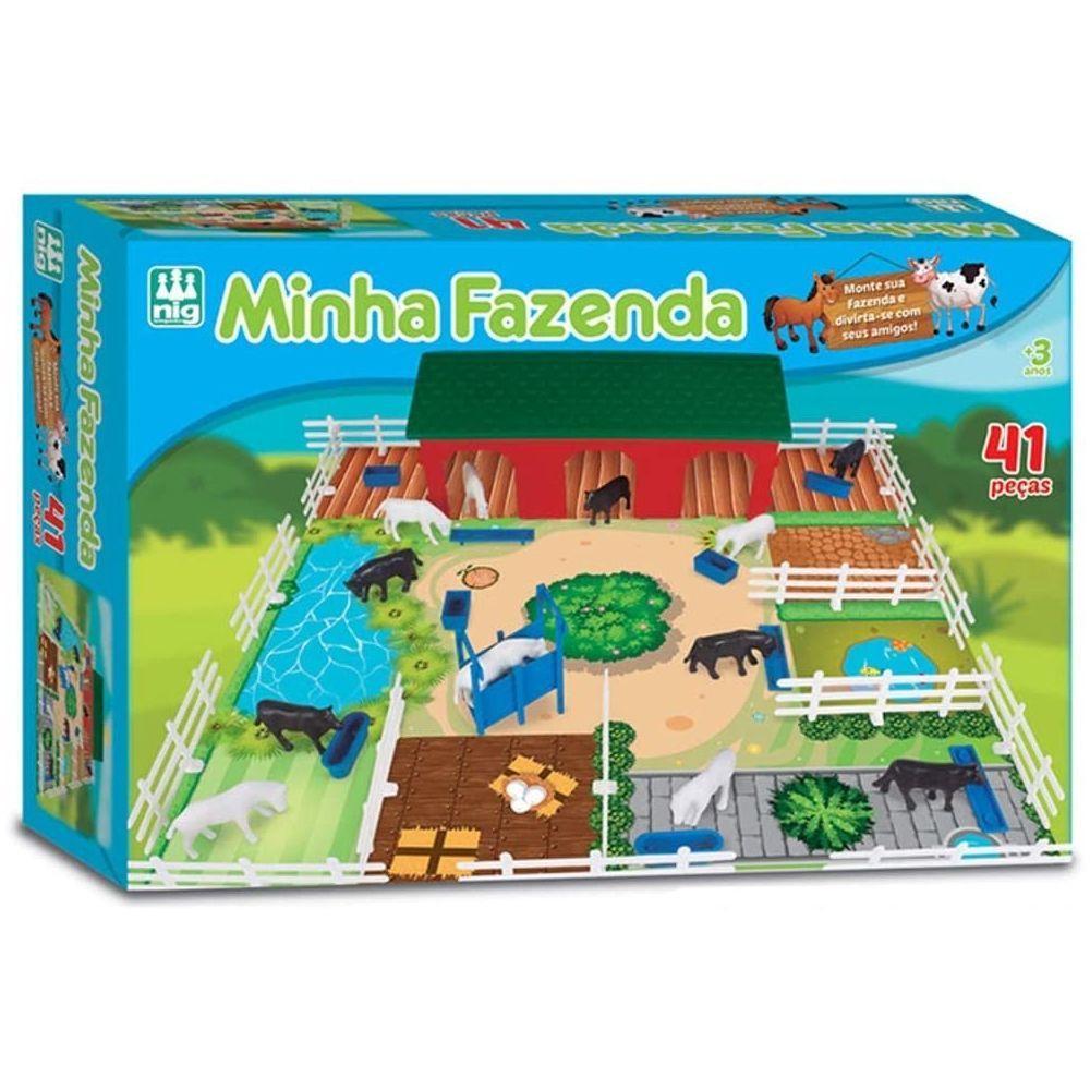 Brinquedo Minha Fazenda com Animais 41 peças Nig