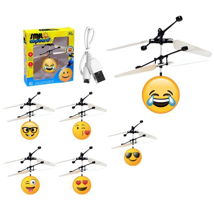 Brinquedo Mini Smile Helicóptero Sensor Recarregável Art Brink