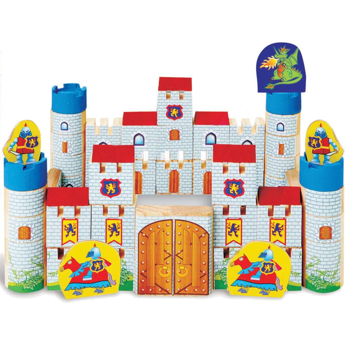 Brinquedo Para Montar Castelo Encantado Madeira 64 pçs