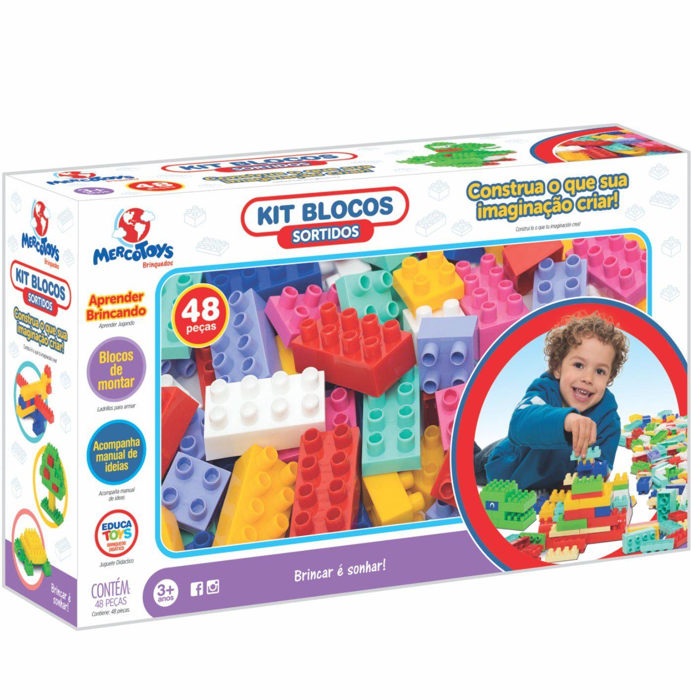 Brinquedo para Montar Kit Blocos Sortidos 48pçs Merco Toys
